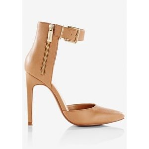 Tan Pointed Toe Zip Side Ankle Strap Pump 💛